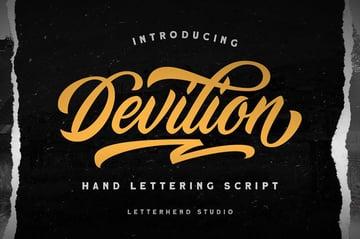 Devilion Hand Lettering Script Font