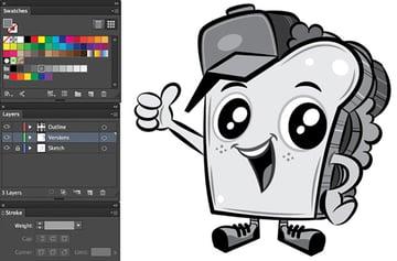 Mascot Design Tutorial adobe illustrator stroke path color alteration grey