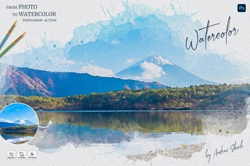 Watercolor Photoshop Action Download