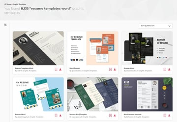 Professional CV format Word Templates from Envato Elements