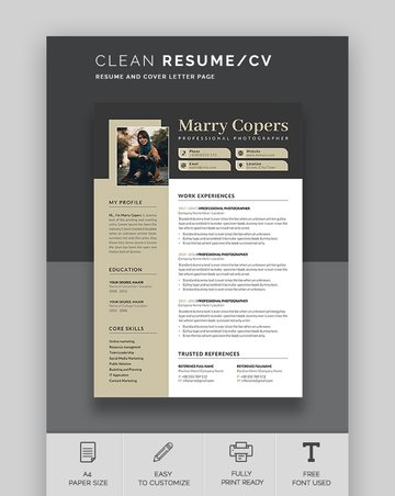 Simple Clean Microsoft Word Two Column Resume Template
