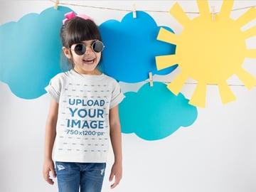 Smiling Girl T-Shirt Mockup