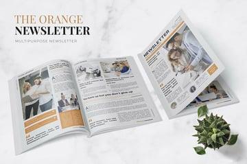 Orange Company Newsletter Template InDesign