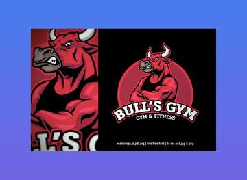 Bull Bodybuilder Gym Fitness Logo