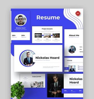 Minimal PowerPoint Resume Template for Web Developer and UX UI Designer