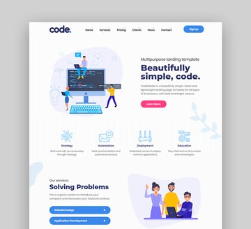 Codelander landing page design inspiration
