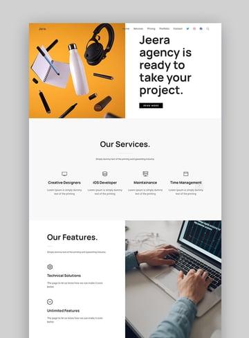 Jeera landing page design