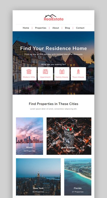 Real Estate Market Responsive Newsletter With Template Builder