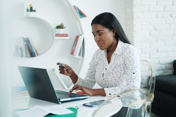 African American Woman Shopping Online