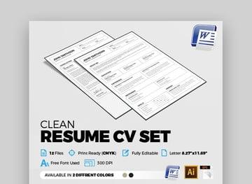 Clean Resume Template Format CV Word