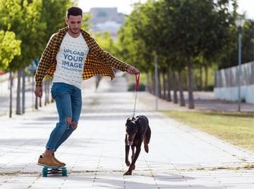 T-Shirt Mockup Generator Man Skating With Dog