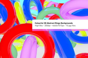 Colourful 3D Abstract Rings Graphic Design Background