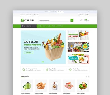 Cigar - Grocery  Electronics Store Shopify Theme