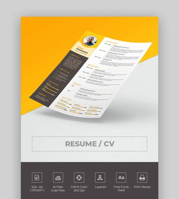 Unique Single Page Resume Template