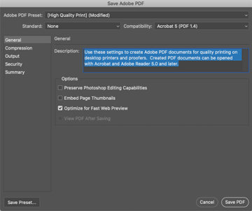 Selecting High Quality Print and Unchecking Preserve Photoshop Editing Capabilities in Photoshop