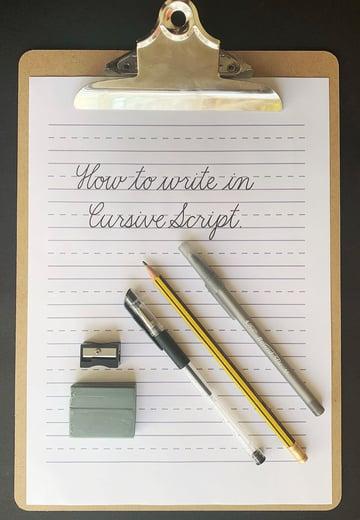 cursive script - supplies