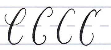 Calligraphy Writing Tutorial make your own font-uppercase c
