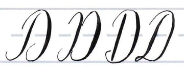 Calligraphy Writing Tutorial make your own font-uppercase D