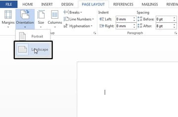 Setting a page Orientation