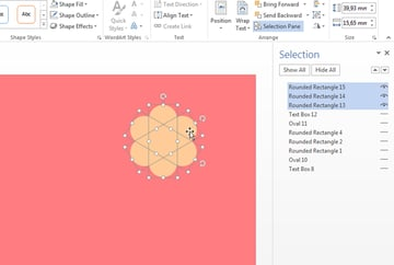 Aligning the flower shapes properly and hiding all the other objects