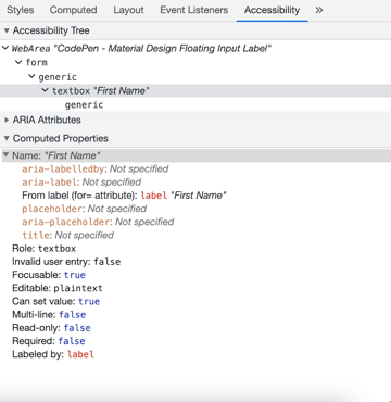 """Accessibility panel in Dev tools showing the textbox """"First Name"""""""