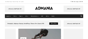 Admania - an adsense optimized WordPress theme for magazine websites
