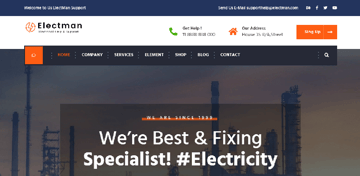 Electman is a well-developed WordPress theme for electricians