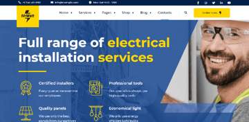 MrWatt - well-designed WordPress theme for electrician websites