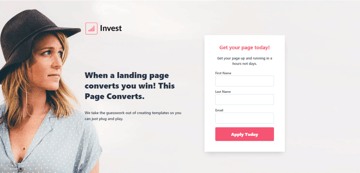 Invest - Beautiful landing page template for HubSpot
