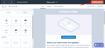The HubSpot email builder
