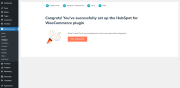 Well done - you have successfully set up HubSpot for WooCommerce