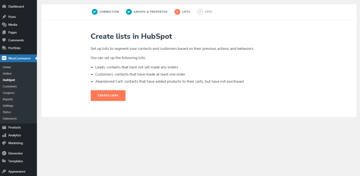 Create lists in the HubSpot for WooCommerce plugin