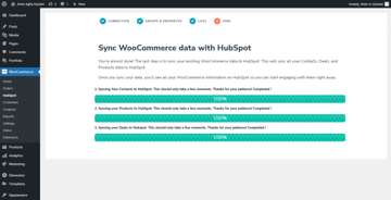 Sync WooCommerce content with HubSpot - Loading