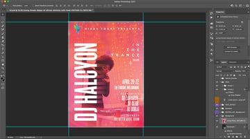 Photoshop project with stock image Opacity reduced