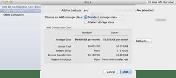 Arq Choose Storage Type