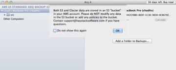 Arq S3 Do Not Modify Warning