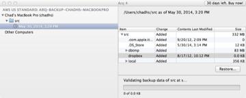 Arq Backup Validating