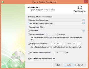 CloudBerry Backup Wizard Advanced Filter