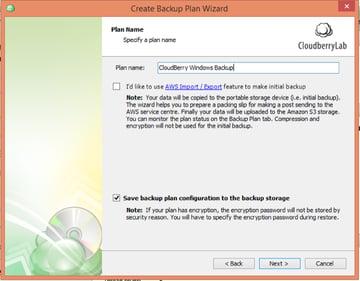 CloudBerry Backup Wizard Plan Name