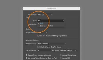SVG font settings
