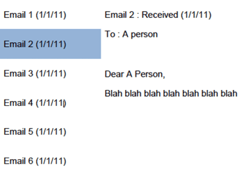 Email application layout example