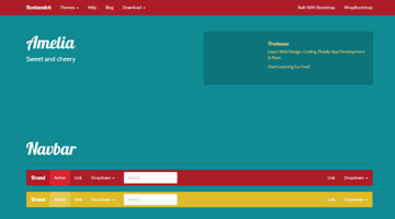 Screen shot of the sweet and cherry theme from Bootswatchcom