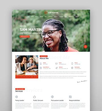 Sam Martin - Personal vCard ResumeCV WordPress Theme