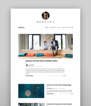 Alia - Minimal Personal Blog Inspiration Responsive WordPress Theme