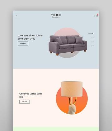 Toro - Sauberes, minimales WooCommerce Theme mit modernem Website-Layout