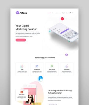 Alfena - SaaS Startup WordPress Theme