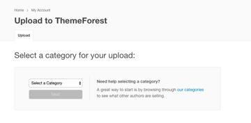 ThemeForest item upload dashboard