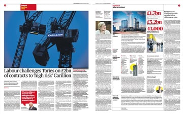 Two pages from the Guardian newspaper demonstrating different chunks of content