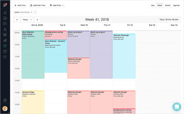 A web design team members weekly timesheet