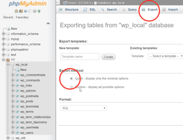 To backup the database youll need access to the PHPMyAdmin